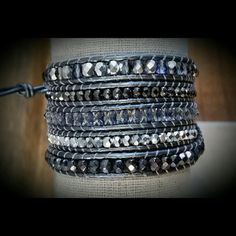 Chan Luu-inspired wrap bracelet. Sumptuous and sophisticated. Gun-metal metallic leather. Natural, earthy, and organic. Comfortable and unique. Sells for $250-300 in high-end boutiques only. PRICE FIRM. MEA Designs Jewelry Bracelets