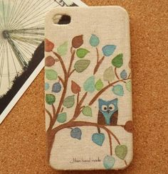 owl on branch  creative fabric iphone 5 cases  by bakatop on Etsy, $16.50 Fabric iPhone case!! Owl