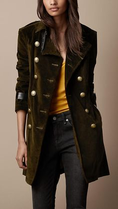 Burberry Mid-Length Corduroy Leather Cuff Trench Coat