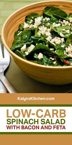 Low-Carb Spinach Salad with Bacon and Feta is a delicious salad that's perfect for lunch any time of year and this also makes a great side dish! [found on KalynsKitchen.com] #KalynsKitchen #LowCarbSpinachSalad #SpinachSaladwithBacon #SpinachSaladwithFeta Salad Recipes With Bacon, Bacon Spinach Salad, Spinach Salad Recipes, Bacon Recipes, Best Low Carb Recipes, Salad Dressing Recipes, Diet Recipes, Healthy Salads, Lean Lunches