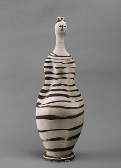 Pablo Picasso, Vase: Woman, 1948, Vallauris, white earthenware painted with slips, 18¾34; x 6½34; x 4¼34;.©2015 ESTATE OF PABLO PICASSO/ARTISTS RIGHTS SOCIETY (ARS), NEW YORK/MUSÉE NATIONAL PICASSO, PARIS