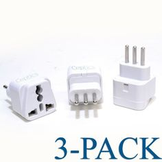 "Ceptics Grounded Universal Plug Adapter for Italy (Type L) - 3 Pack by Ceptics. $6.99. Italy Plug Adapter - 3 Pack The adapter Type L can be used in the following countries: ITALY, URUGUAY. The plug is also found in Chile, Ethiopia, Libya, Syria (and various countries in North Africa).   The input is a universal receptacle that accepts all types of connectors (Including: 2-Prong US ""polarized"", 3-Prong US grounded, European, UK, AUS and India plug standards. But not th..."