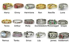 Harry Potter fandom rings I want Hermione's, Dumbledore's, the Twins and Ron's!