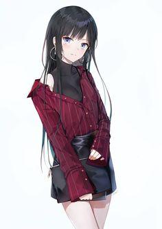 """cute-girls-from-vns-anime-manga: """" カチューシャ様 by 朱シオ """" Kawaii Anime Girl, Manga Kawaii, Cool Anime Girl, Pretty Anime Girl, Beautiful Anime Girl, Anime Art Girl, Anime Girls, Anime Girl With Black Hair, Anime Girl Dress"""