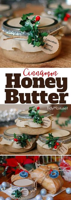 Cinnamon Honey Butter Delicious handmade food gift that requires no baking! Cinnamon Honey Butter makes a beautiful gift in a jar when paired with homemade bread or pound cake. Get the easy recipe + gift jar tutorial at Homemade Christmas Gifts, Christmas Treats, Christmas Baking, Homemade Gifts, Handmade Christmas, Holiday Gifts, Diy Food Gifts, Jar Gifts, Gift Jars