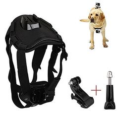 Loriver Adjustable Chest and Back Mount Dog or Pet Harness For Go Pro Hero Camera ( Black )