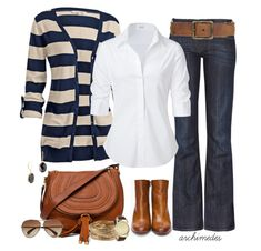 Fashion for Moms – Cute and Budget Friendly Outfits. Navy, brown & jeans.