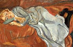 Chaim Soutine (1893-1943) woman lying on a red couch.