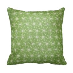 Star Snowflakes on Green Holiday Throw Pillow