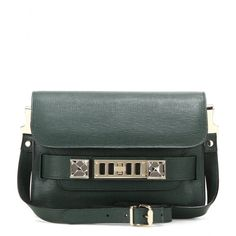 Proenza Schouler - PS11 Mini Classic leather shoulder bag - The 'PS11' is a truly iconic style. In rich green, the leather shoulder bag epitomises artful craftsmanship and sleek design: an emblem of Proenza Schouler's New York city chic. Tote it day or night as a sophisticated final note to any look. seen @ www.mytheresa.com