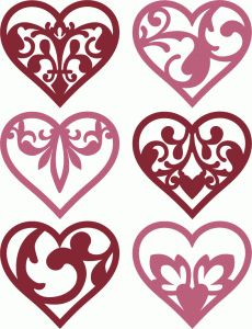 6 damask flourish hearts by kolette hall Vogel Silhouette, Silhouette Design, Diy And Crafts, Arts And Crafts, Scroll Saw Patterns, Silhouettes, Christmas Diy, Projects To Try, Cricut