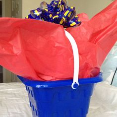 Beach pail instead of wrapping paper!