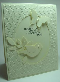 handmade card ... all white (photo needs color correcting ) ... top layer embossed ... window to card front and the sentiment ... punched two-step bird and butterfly ... luv these punches!! ... lovely ... Stampin' Up!