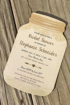 rustic bridal shower invitation idea gold glitter and lace mason jar bridal shower invite