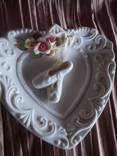Vintage bisque home decor Bisque wall hanging Heart by STUFFEZES
