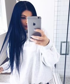 Pin for Later: Every Hair Color Kylie Jenner Has Ever Worn Midnight Blue This gorgeous navy color came courtesy of a wig. We wish the look wasn't so temporary!