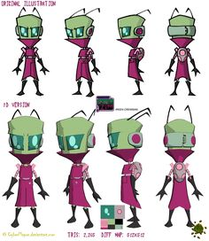 Another character model sheet which contains a simple little alien, the style is very cartoony which again correlates with the style of game we are going for Alien Character, Character Creation, Comic Character, Character Concept, Concept Art, Character Model Sheet, Character Modeling, 3d Modeling, The Office Characters