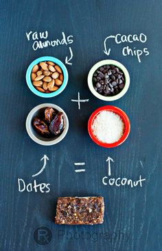 Healthy Almond Bars, and so easy! Just mix in a food processor, press into a tin, chill and slice.