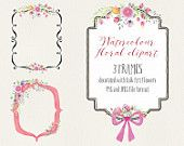 Watercolour floral clip art: 3 frames with pink floral sprays; wedding resources - digital download
