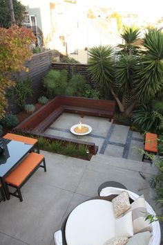 modern patio ideas with furniture and benches and fire pit : Outdoor Patio Ideas. outdoor patio designs,patio design ideas,patio designs,patio home design,patio outdoor design ideas Modern Landscape Design, Modern Landscaping, Backyard Landscaping, Landscaping Ideas, Landscape Architecture, Terraced Backyard, Backyard Privacy, Modern Backyard, Modern Design