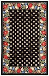 Vera Bradley Signature Collection Vibrant Black Multi VBY005A Area Rug    Wool Hand Hooked Rugs