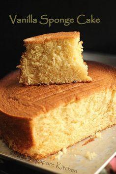 Easy Vanilla Cake Recipe From Scratch, Basic Sponge Cake Recipe, Basic Cake, Sponge Cake Recipes, Cake Recipes From Scratch, Easy Cake Recipes, Baking Recipes, Basic Recipe, Best Vanilla Sponge Cake Recipe