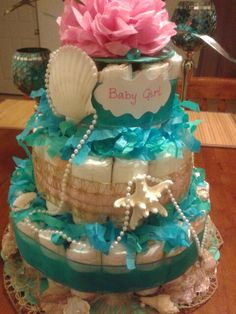 Ocean theme diaper cake