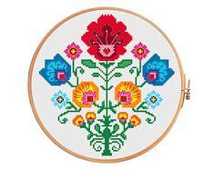 Crab polish flower wycinanki - modern cross stitch pattern - traditional folk art polish flower pattern folk flowers