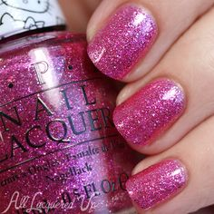 OPI Starry-Eyed for Dear Daniel is a smooth fuchsia glitter mix. It's a fine full-coverage glitter that looks like crushed gems.