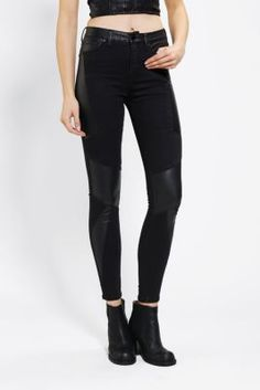 Silence   Noise Seamed Twig High-Rise Jean - Vegan Leather
