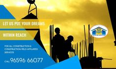 Let us put your dreams within reach #COCOFAS #SMR #Construction #Home is not just building a structure with brick and mortar. But it is something more. We have got you covered! Just look around and pick the perfect one from us. Let us put your dreams within reach For all Construction & Construction field affiliated services Call: 96596 66077
