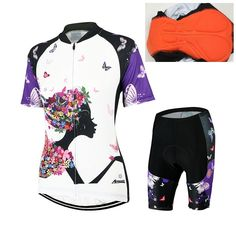d4a14677c ARSUXEO Women Cycling Short Sleeves Jersey Bike Bicycle Sets Breathable  Quick-Dry T-Shirts + coolmax Padded Shorts Clothing