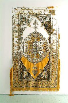 ELANA HERZOG Civilisation and its Discontents (2003) Persian and Persian type carpets, mixed fabrics, metal staples, Dimensions variable