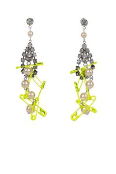 ColorTom Binns Faux Real Swarovski Crystal and Faux Pearl Safety Pin Earrings, $308; net-a-porter.com   ELLE.com