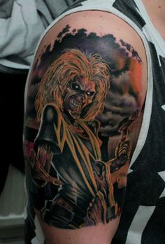 19 Killer Eddie Tattoos For Iron Maiden Fans Dope Tattoos, Music Tattoos, Trendy Tattoos, Body Art Tattoos, Tatoos, Awesome Tattoos, Full Sleeve Tattoo Design, Full Sleeve Tattoos, Cover Up Tattoos