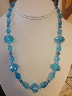Teal Crystal Beaded Necklace by karlajophoto on Etsy, $35.00