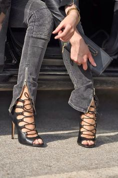 Edgy Outfit Essentials: Tight black pants, cage heels, ankle zip moto jean, off duty model attitude