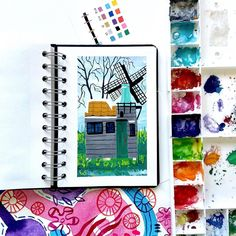 A tiny windmill. Watercolor Beginner, Sketchbook Pages, Gouache Painting, Windmill, Landscape Paintings, Cool Art, Paper, Spotlight, Illustration
