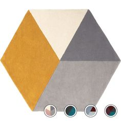 Hagen Large Hexagon Wool Rug 150 x 180cm, Mustard and Grey from Made.com. Yellow/Grey. NEW Express delivery. Introducing Hagen, a super-sleek hexago..