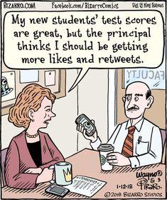 Award-winning, cartoon artist Dan Piraro, has nailed teacher life with these hilarious teacher comics that we can all sit back and laugh at. Cartoon Jokes, Funny Cartoons, Funny Jokes, Hilarious, Teacher Comics, Teacher Memes, School Teacher, Bizarro Comic, Bored Teachers