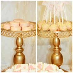 peach and gold glitter cakepops chocolate covered oreos