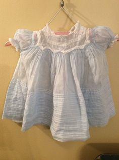 "Vintage Cotton Gauze Baby Girl's Dress Light Antique Blue Sheer ""Feltman Bros "" | eBay"
