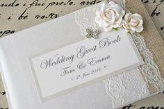 Lusso Libro Degli Ospiti Personalizzato Per Matrimoni Stile Vintage Rosa & | eBay