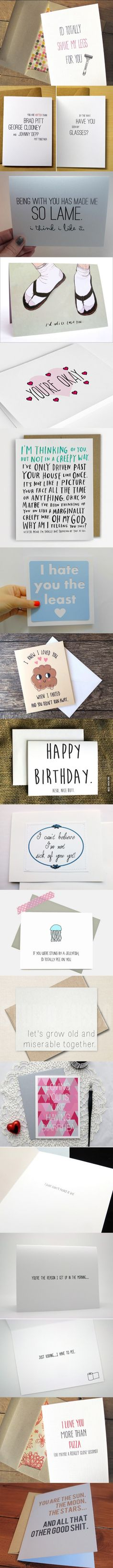New birthday greetings humor hilarious funny cards ideas Diy Cadeau, E Mc2, Idee Diy, Funny Cards, Funny Greeting Cards, Cute Cards, Funny Love, Just For Laughs, Birthday Cards