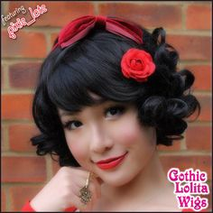 Gothic Lolita Wigs' short curly bob - Jet Black