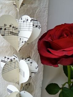 SALE Paper Garland, MUSIC HEARTS, Garland, Mobile, Heart Garland, Wedding garland, Birthday Party Garland, with Merino wool felt ball