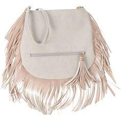 Friis Company Cross-body Bag (£63) ❤ liked on Polyvore featuring bags, handbags, shoulder bags, light grey, hobo handbags, fringe crossbody, hobo cross body purse, cross body fringe purse and fringe crossbody handbags