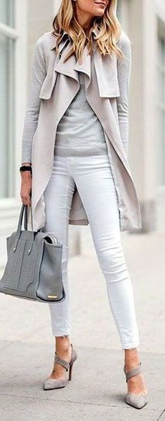 Grey blouse, white pants and a nude vest - LadyStyle
