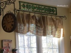 another option for kitchen windows - just wide burlap in a roll and clips
