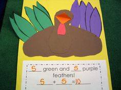 math idea adding feathers writing colours and number sentences.  Also do this with a tree and falling leaves for subtraction
